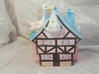 VINTAGE CERAMIC BABY PLANTER HOUSE WITH STORK MADE IN JAPAN