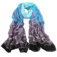 Blue Charming Fashion Lady Girls Flower Long Soft Scarf Wrap Shawl Stole Scarves