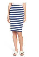NWT Gibson Fornillo Pencil Skirt Striped White Blue $52 Size XL New