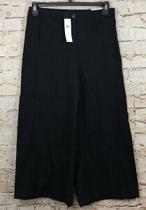 Ann Taylor The Marina Wide Leg black Pants womens size 4 NEW High rise crop A9