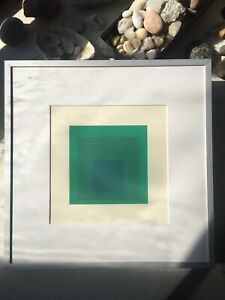 "JOSEF ALBERS HOMAGE TO THE SQUARE 8"" GREEN SCREENPRINT EMERAUDE BY IVES SILLMAN"