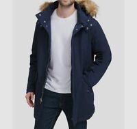 $795 Cole Haan Men's Blue Fur Hood Warm Winter Anorak Jacket Coat Size Medium
