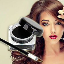 Women Waterproof Shadow Gel Eyeliner Eye Liner Makeup Cosmetic + Brush Black Set