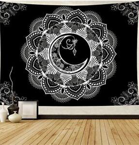 Mandala Tapestry Indian Wall Hanging Black & white moon Art Decor Hippie