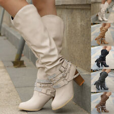 Womens Studded Mid-Calf Boots Ladies Knee High Cuban Heel Smart Party Shoes New