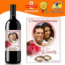 PERSONALISED WEDDING PHOTO WINE BOTTLE LABEL GIFT