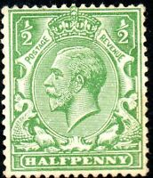 1924 Sg 418 N33/6 ½d Yellow-Green Block Cypher Watermark Mounted Mint