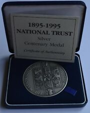 More details for 1895 1995 national trust silver centenary medal box + coa 152 grams