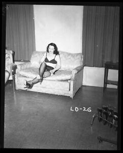 Exotic Glamour Model Pin Up Irving Klaw Photo Shoot Original Camera 4x5 Negative