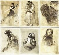 """Star Wars The Last Jedi Series 1 ~ """"ILLUSTRATED"""" 11-Card Insert Set SWI-1~SWI-11"""
