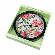 Michel Design Works Peony Butterfly Floral Metal Glass Kitchen Wall Clock