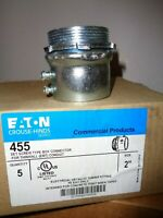 """5 EATON CROUSE-HINDS 455 2"""" SET TYPE SCREW CONNECTOR FOR THINWALL (EMT) CONDUIT"""