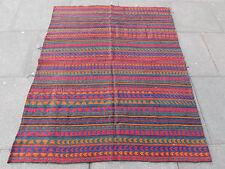 Old Tribal Nomadic Hand Made Persian Oriental Red Wool Jajim Kilim 174x140cm