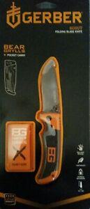 GERBER BEAR GRYLLS SCOUT folding knife serrated edge 1hand open.lock back safety