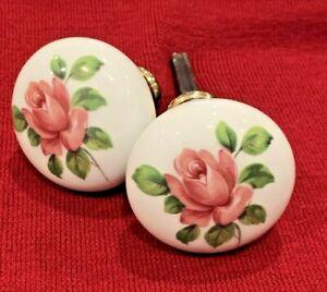Vintage J M Limoges Hand Painted Pink Green Rose Flower Door Knob Handle France