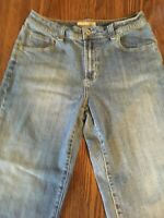 Chico's women's Blue Medium Wash Denim Capri Platinum Jeans Cuffed Hems Size 0.5