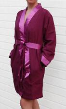 Leonique Bademantel Morgenmantel Kimono Satin-Besatz-Gürtel, lila. NEU!!!