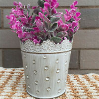 Vintage Flower Planter Window Box Tin Metal Trough Garden Outdoor Plant Pot