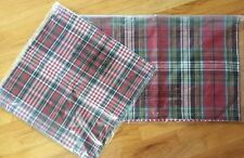 2 Pottery Barn HoundsTooth Reversible Pillow Cover Plaid Gray Red Lumbar/Square