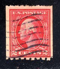 U.S. STAMP #411 2c WASH-FRANK FLAT, p8.5H, w190 1912 USED