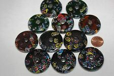 Glass Coins -Milfiori - 36-38 mm & 8 -10 mm Thick-Assorted Colors 12 Coins/Pack