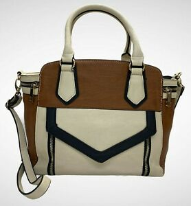 ALDO Ladies Womens Bag handbag Large Cream Brown Trapeze Shoulder Bag