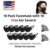 10 Pack Face Mask FREE Ear Savers Black Washable Reusable Breathable Unisex