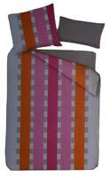 Sleep Good Mikrofaser Bettwäsche Set 4tlg. 135x200cm Grau/Organge/Pink gestreift