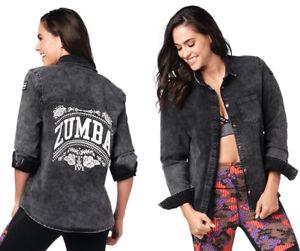 Zumba Dance Tribe Button Up Shirt - Black ~ size Small (runs big) ~ New!