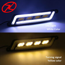 Car-styling COB LED Driving Day Light White DRL with Turn Signal Waterproof  12V