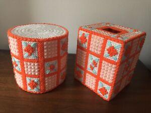 Vintage Handmade Needlepoint Plastic Canvas Tissue Box & Bath Roll Covers