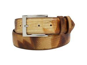 Genuine Handmade Desert Camo Lizard Leather Belt (Made in U.S.A)