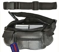 Large Leather Fanny Pack Mens Waist Belt Bag Womens Purse Hip Pouch Travel W/Ext