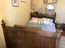 More details for rare antique solid wood french country sleigh bed or lit bateau
