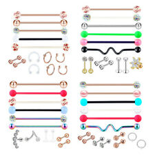 13Pcs Barbell Stud Piercing Jewelry Earrings Nose Hoop for Helix Tragus Lip