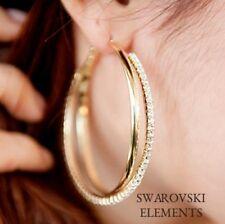 boucles d'oreilles créoles larges modernes plaqué jaune Swarovski® Elements