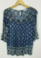 Lucky Brand Women's Large Accented 3/4 Sleeve Boho Knit Top