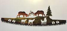 North American Elk Fighting Crosscut Saw Blade Indoor or Outdoor Metal Wall Art