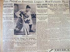 1938 NY Times newspaper Boston Red Sox star JIMMY FOXX named AL baseball MVP