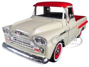 1958 CHEVROLET APACHE FLEETSIDE PICKUP TRUCK CREAM & RED 1/24 CAR MOTORMAX 79311