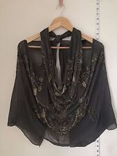ALL SAINTS Sechin Silk Beaded top Grey Hand Sewn Size 8 holiday festival