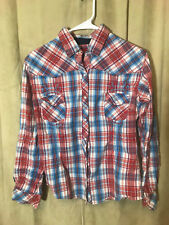 Womens Panhandle Western Blouse S Red White Blue Plaids L/S Cotton Native Signs
