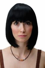 Wig Women's Wig Short Bob Long Bob Fringe Curved Tip Black 7803-1