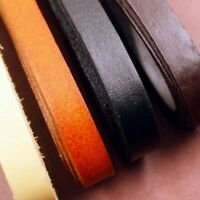 Real Genuine Leather Flat Cord Strap Rope String DIY Craft Bracelet Fabric Trims