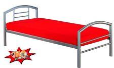 Einzelbett Arena, Gästebett, Bett, Metallbett, mit Rahmen, Silberfarbig, 90x200