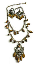 """TIGER'S EYE ~ 21"""" DOUBLE ROW CHAIN WITH 2 3/4"""" HEART PENDANT & EARRINGS"""