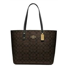 NWT COACH Town Tote Classic Canvas Shoulder Bag Luxury Brown Black Gold F76636