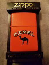 1992 Camel Zippo Orange Matte Finish Cigarette Lighter Excellent Condition