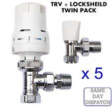 "X5 Thermostatic Radiator Valve Set 15mm x 1/2"" TRV Lockshield Valves *TWIN PACK*"