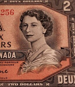 1954 Canada $2. RARE Three (3) CONSECUTIVE Banknotes. Very High Grade.